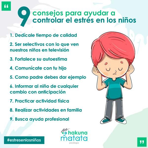 Consejos o técnicas para controlar el estrés en los niños